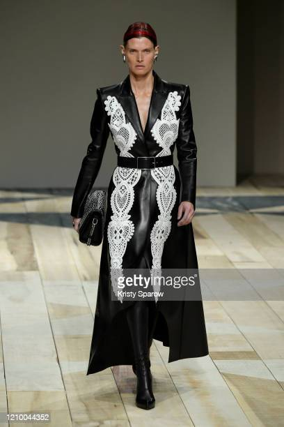 Malgosia Bela walks the runway during the Alexander McQueen as part of Paris Fashion Week Womenswear Fall/Winter 2020/2021 on March 02, 2020 in...