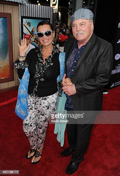 Malgosia Tomassi and actor Stacy Keach attend the premiere of Disney's Planes Fire Rescue at the El Capitan Theatre on July 15 2014 in Hollywood...
