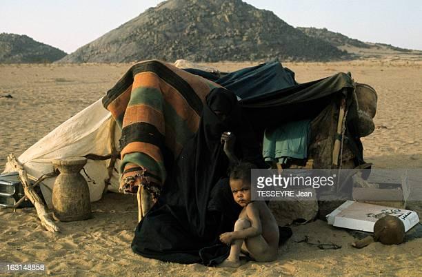 Mali And Niger Touaregs Victims Of A Drought Took Refuge In Algeria Deep South Dans le grand sud algérien dans le désert devant une tente une femme...