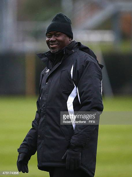 Mali coach Fanyeri Diarra looks on during a Mali training session at Logan Park prior to the FIFA U20 World Cup on May 30 2015 in Dunedin New Zealand