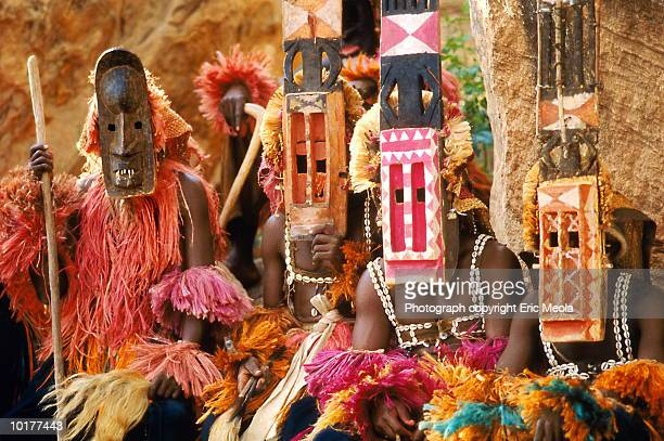 Mali, Dogon tribesmen wearing ceremonial masks