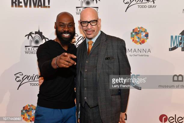 Mali Music and associate director Jon E Edwards are seen at the premiere of Harry Lennix's Film Revival a gospel musical based on the Book of John at...