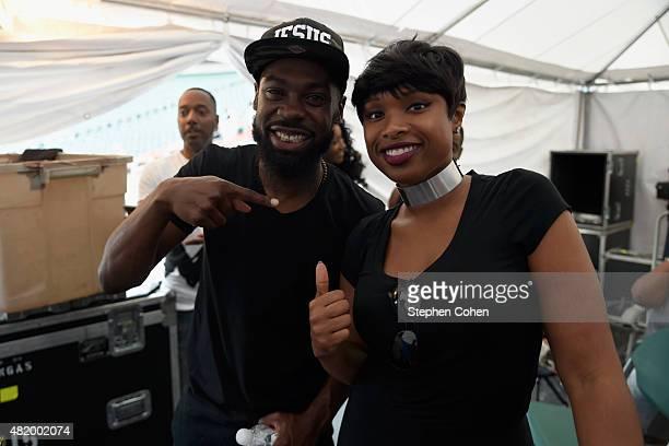 Mali Music and Jennifer Hudson pose backstage during day 2 of the Cincinnati Music Festival at Paul Brown Stadium on July 25 2015 in Cincinnati Ohio