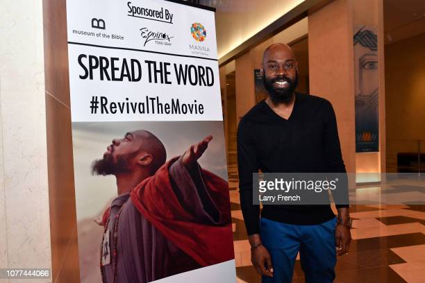 Mali Music is seen at the premiere of Harry Lennix's Film Revival a gospel musical based on the Book of John at the Museum of The Bible on December...