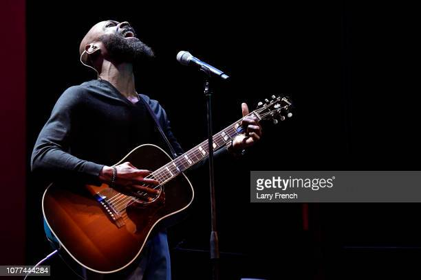 Mali Music performs at the premiere of Harry Lennix's Film Revival a gospel musical based on the Book of John at the Museum of The Bible on December...