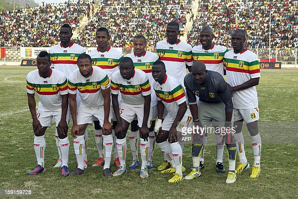 Mali national football team players pose for a photograph prior to the start of the exhibition match between Mali Aigle A and Aigle B national teams...
