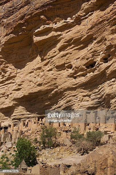 Mali, Near Bandiagara, Dogon Country, Bandiagara Escarpment, Ireli Dogon Village And Cliffside Dwellings Of Former Tellem Tribe .