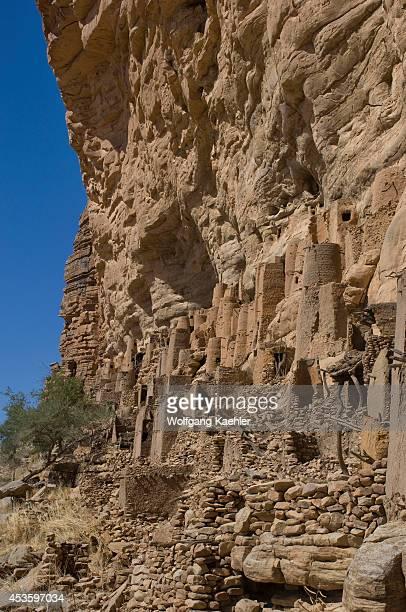 Mali Near Bandiagara Dogon Country Bandiagara Escarpment Ireli Dogon Village And Cliffside Dwellings Of Former Tellem Tribe