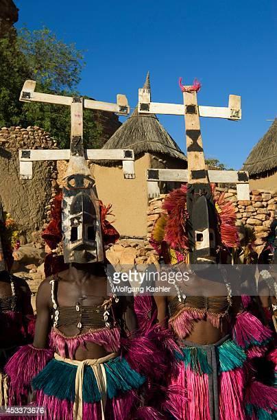 Mali Near Bandiagara Dogon Country Bandiagara Escarpment Traditonal Dogon Dance In Village