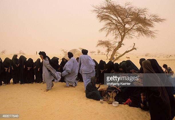 Mali Near Timbuktu Tuareg Camp In Harmattan Dust Storm Traditional Dances Of Tuareg People