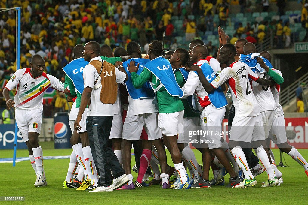 Mali players celebrate vicotry following a penalty shoot out in the 2013 African Cup of Nations Quarter Final 2 match between South Afica and Mali from Moses Mabhida Stadium on February 02, 2013 in Durban, South Africa.