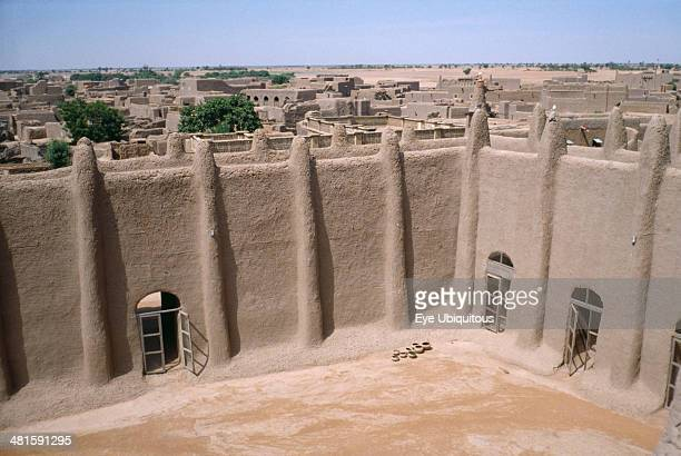 Mali Sahel Djenne Courtyard of the Grand Mosque and rooftops of town beyond