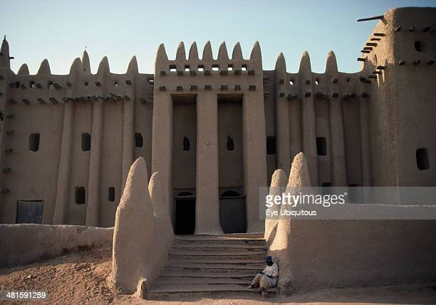 Mali Sahel Djenne The Grand Mosque Part view of exterior with plastered mud walls