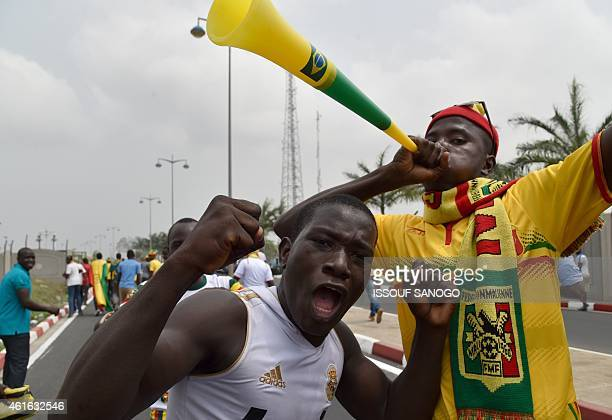 A Mali supporter blows a vuvuzela horn as another cheers upon the arrival of Mali's team at Malabo airport on January 16 ahead of the 2015 Africa Cup...