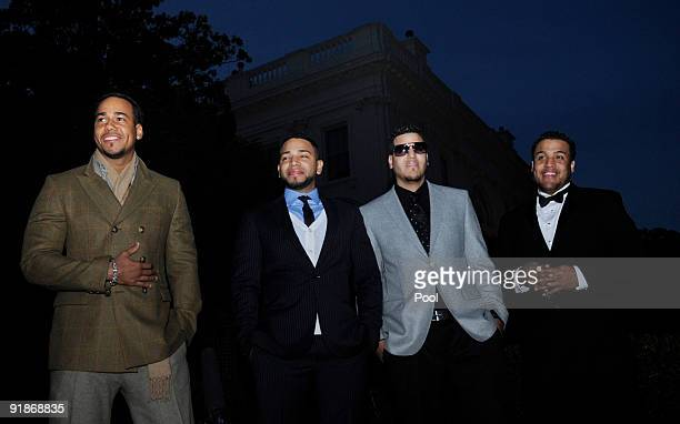 Musicians Aventura Anthony Romeo Santos Henry Santos Jeter Max Santos and Lenny Santos attend a White House music series Fiesta Latina on the South...