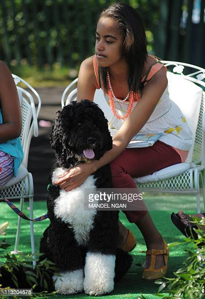 Malia daughter of US President Barack Obama and First Lady Michelle Obama sits with Bo the family dog while her parents read book to children during...