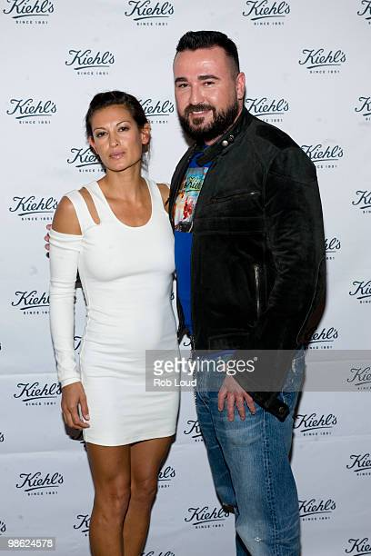 Malia Jones and Kiehl's President Chris Salgardo attend the unveiling of Limited Edition Kiehl's Acai DamageProtecting Toning Mists to benefit the...