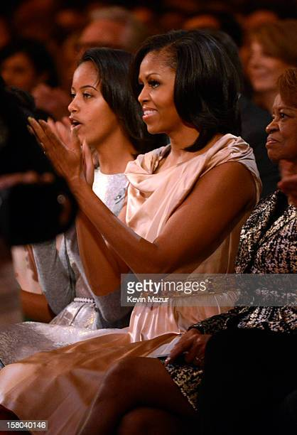 Malia Obama and First Lady Michelle Obama attend TNT Christmas in Washington 2012 at National Building Museum on December 9 2012 in Washington DC...
