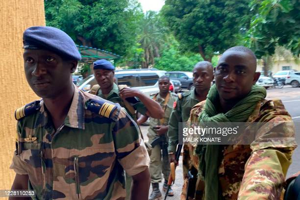 Malian Air Force deputy chief of staff Ismael Wague arrives at the Malian Ministry of Defence in Bamako on August 19 2020 The military junta that...