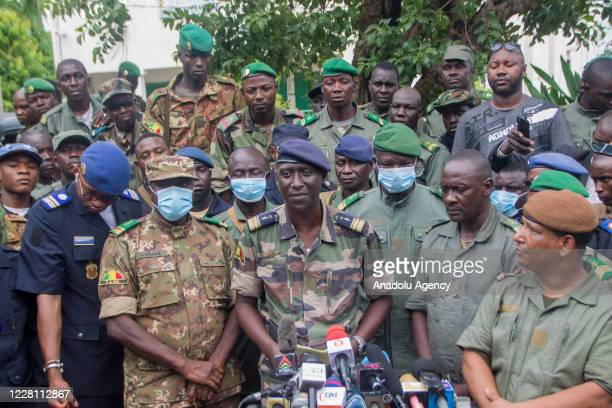 Malian Air Force deputy chief of staff Ismael Wague speaks during a press conference in Kati, Bamako, Mali on August 19, 2020. Leaders of a military...