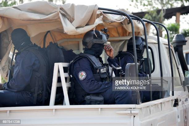 Malian antiterrorist special forces 'Forsat' members enter the Kangaba tourist resort in Bamako on June 19 a day after suspected jihadists stormed...