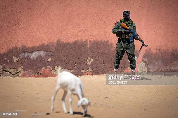 Malian army soldier Sekou Bolly aged 30 holds an AK47 assault rifle as he patrols on February 25 2013 in Gao some 1200 kilometres north of Bamako...
