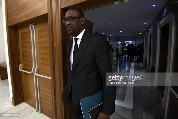 Malian Foreign Minister Abdoulaye Diop arrives ahead of a meeting for a peace agreement between the Malian government and some northern armed groups...
