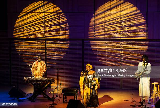 Malian group Trio Da Kali perform onsatge during a concert presented by Carnegie Hall and Robert Browning Associates at Carnegie Hall's Zankel Hall...