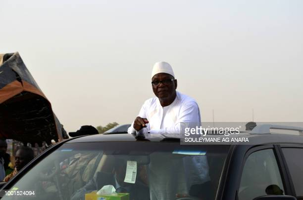 Malian incumbent president Ibrahim Boubacar Keita arrives at the Gao stadium on July 18 2018 for a presidential campaign rally