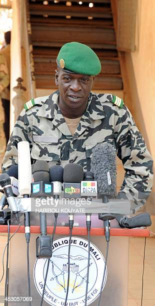 Malian junta leader Amadou Sanogo speaks in Kati near Bamako on March 30 2012 Mali's embattled coup leader Captain Amadou Sanogo on Friday asked for...