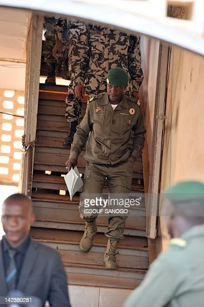 Malian junta leader captain Amadou Sanogo arrives for a declaration on April 3 2012 at the Kati military camp near Bamako Mali's underfire junta on...