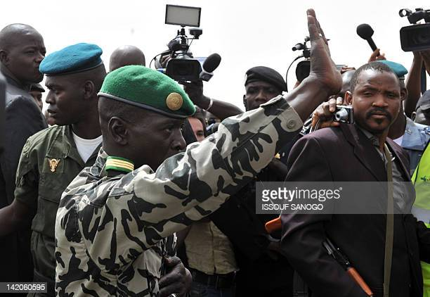 Malian military junta leader Amadou Sanogo getsures on March 29 2012 on arrival at Bamako airport A bid by west African leaders to seek a return to...