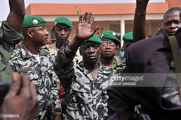 Malian military junta leader Amadou Sanogo greets supporters at Bamako airport on March 29 2012 A bid by west African leaders to seek a return to...