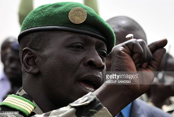 Malian military junta leader Amadou Sanogo speaks to supporters at Bamako airport on March 29 2012 in Bamako A bid by west African leaders to seek a...