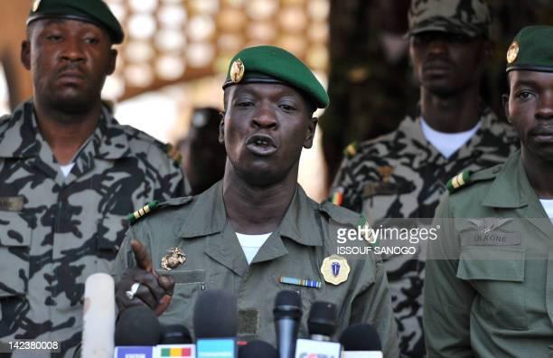 Malian military junta leader captain Amadou Sanogo speaks on April 3 2012 at Kati military camp near Bamako Mali's underfire junta called a national...