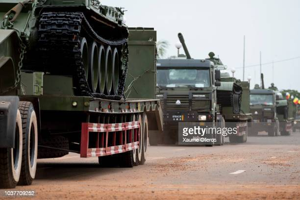 Malian military truck forces proceed during the National Day military parade on September 22 2018 in Bamako Mali