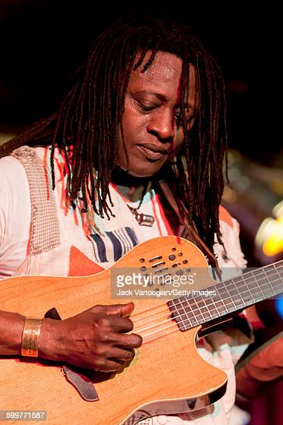Malian musician Habib Koite plays acoustic guitar on the Acoustic Africa Tour at BB King Blues Club Grill in Times Square New York New York April 6...