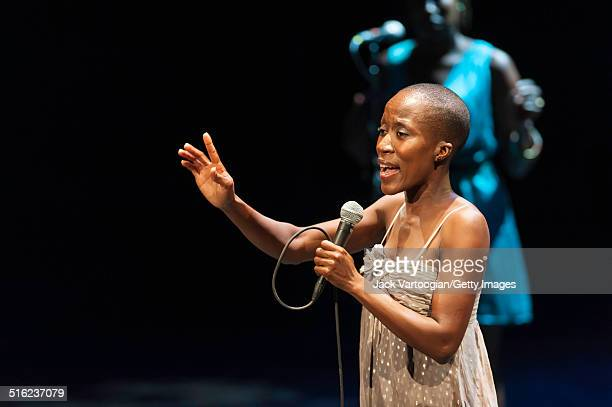 Malian musician Rokia Traore performs onstage at a concert during the 2014 Next Wave Festival at the BAM Howard Gilman Opera House, Brooklyn, New...