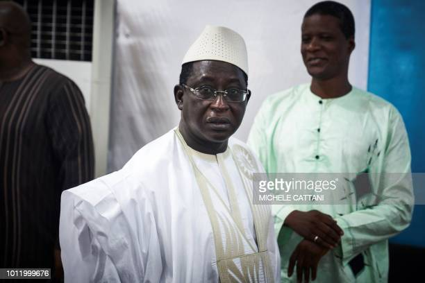 Malian opposition leader and presidential candidate Soumaila Cisse arrives for a press conference on August 6, 2018 in Bamako, ahead of the second...