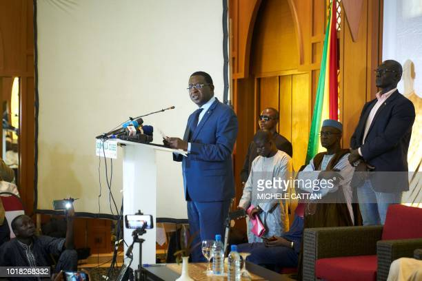 TOPSHOT Malian Opposition leader Soumaila Cisse delivers a speech during a press conference on August 17 in Bamako on the eve of the official results...