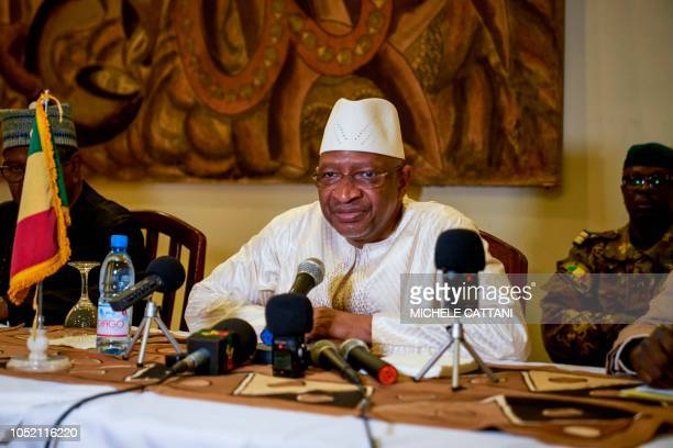 Malian Prime Minister Soumeylou Boubeye Maiga addresses the press during a conference in Mopti on October 13 2018