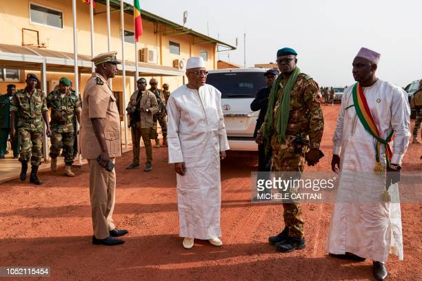 Malian Prime Minister Soumeylou Boubeye Maiga is received in Mopti in occasion of his visit in Mali's central region on October 14 2018