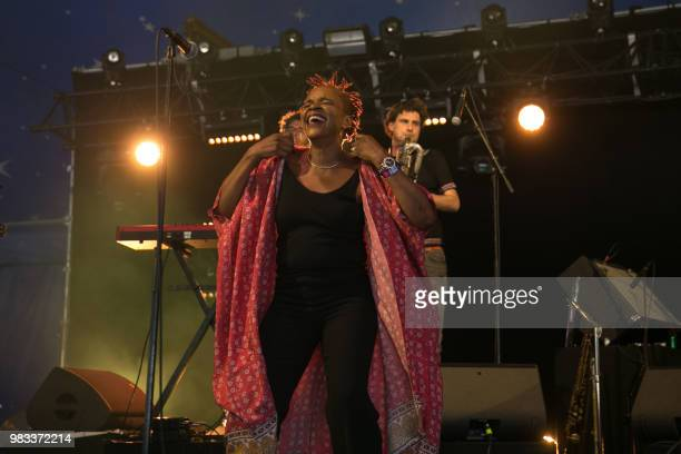 Malian singer Mamani Keita performs during a concert at the Solidays music festival on June 24, 2018 at the hippodrome de Longchamp in Paris.