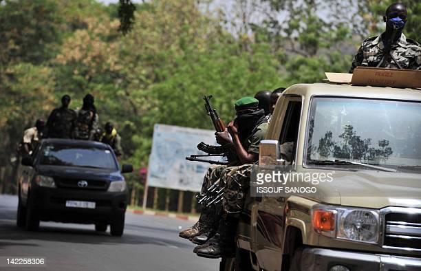 Malian soldiers patrol the streets of Bamako following Malian junta leader captain Amadou Sanogo's declaration on April 1 2012 Sanogo announced the...