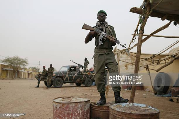 Malian soldiers patrols on July 27 in Kidal northern Mali Clashes between Tuaregs and black Africans a week ago left four people dead while five...