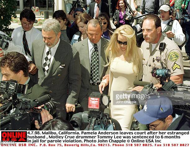 4798 Malibu California Pamela Anderson leaves court after her estranged husband rocker Tommy Lee was sentenced to 6 months in jail for parole...