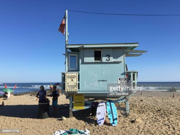 Malibu Colony beach lifeguard tower in Malibu California on October 11 2015