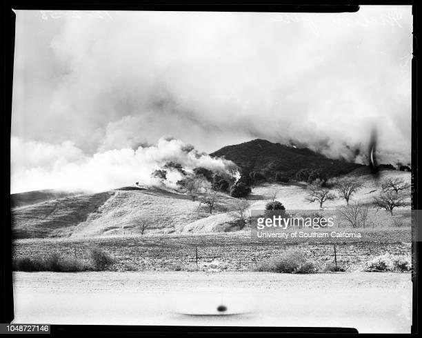 Malibu fire 2 December 1958 Fire in the Virgenes Canyon areaBob Hope RanchPurple Sage RanchMalibu Lake areaFloyd BaumeSuzette Baume Mrs Jesse...