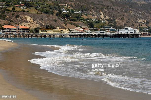 malibu pier at malibu beach - malibu - california - usa - malibu beach stock pictures, royalty-free photos & images