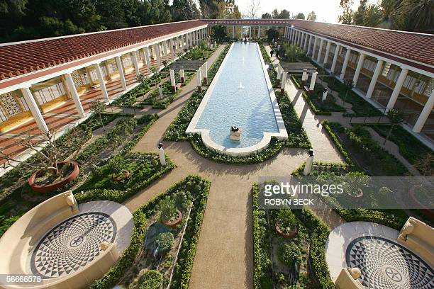 A view from above the outer peristyle at the Getty Villa 24 January 2006 in Malibu California The Getty Villa which reopens to the public later this...
